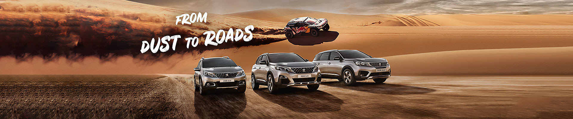 Peugeot 2008 SUV, 3008 SUV and 5008 SUV in the desert